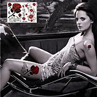 Tatuointitarrat Kukkasarjat - Paperi - Non Toxic/Viidakko/Alaselkä/Waterproof - Sexy Rose - 21*14.5cm(8.3*5.7in) - Monivärinen - 1 pc -
