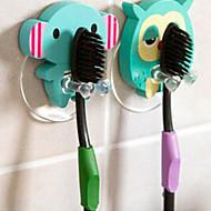 나무 귀여운 만화 동물 칫솔 홀더 흡입 컵 욕실 후크를 설정