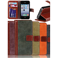 Genuine Matte Nubuck Cowhide PU Leather Flip Cover Wallet Card Slot Case with Stand for iPhone 4/4S (Assorted Colors)