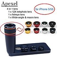 apexel 4 in 1 lens kit 12x zwart telelens + fisheye-lens + groothoek + macro lens van de camera met een case voor de iPhone 5 5s