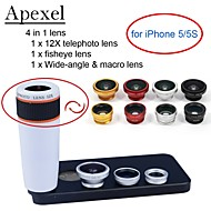 Apexel 4 in 1 Lens Kit 12X White Telephoto Lens+Fisheye Lens+Wide-angle+Macro Camera Lens with Case for iPhone 5 5S