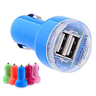 DC 12-24V 2.1A/ 1A Dual-USB Mini Auto Car Charger Adapter for iPhone and Others(Assorted Colors)
