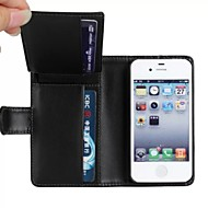 Wallet Style PU Leather Full Body Protection Cover with Stand and Card Slot for iPhone 4/4S