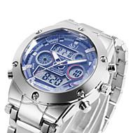 Da uomo Orologio da polso Quarzo LCD / Calendario / Cronografo / Resistente all'acqua / Due fusi orari / allarme Acciaio inossidabile