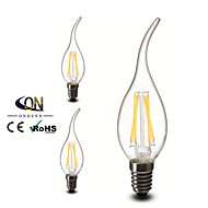 3PCS ONDENN E12 4 W 4 COB 400 LM 2800-3200K K Warm White A Dimmable Candle Bulbs AC 110-130 V