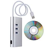 אלומיניום 3 יציאות RJ45 USB 3.0 מתאם LAN 10/100/1000 Gigabit Ethernet LAN רשת עם 3 יציאות USB HUD