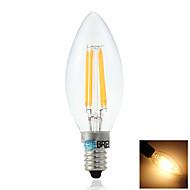 BRELONG E14 4W 4XCOB  400LM 3000-3500K Warm White LED Filament Candle Light(AC220V)