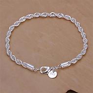 Dames Armbanden met ketting en sluiting Basisontwerp Modieus Sterling zilver Geometrische vorm Sieraden Slang Zilver Sieraden Voor