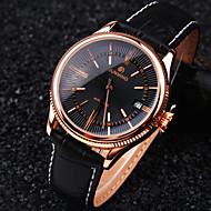 Męskie Zegarek na nadgarstek zegarek mechaniczny Mechaniczny, nakręcanie ręczne Kalendarz Wodoszczelny Skóra Pasmo EkskluzywneCzarny