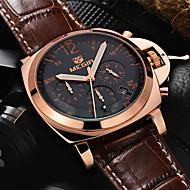 megir®men uformell watch ekte skinn luksus klokker kvarts armbåndsur chronograph sport watch (assorterte farger)