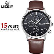 megir®chronograp svart ekte skinn stropp virksomhet klokke kvarts luksus sport watch menn merkevare watch (assorterte farger)