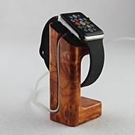 Apfel-Uhr-Ladegerät stehen Gold Pfirsichholzwerkstoff