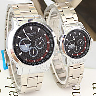 Couple's Business Style Silver Alloy Quartz Wrist Watch