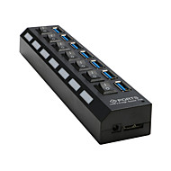 7-Port USB 3.0-porter 7x ekstern hub med av / på bryter + ac for desktop laptop