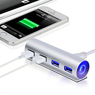 2015 novos 5Gbps usb alumínio de alta velocidade 3.0 4-port hub splitter adaptador com luz LED