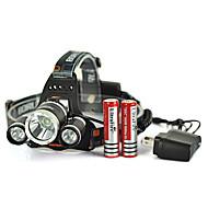 헤드 램프 스트랩 LED 4.0 모드 5000 루멘 충전식 / 응급 / 자기 방어 Cree XM-L T6 사이클링 블랙 알루미늄 합금