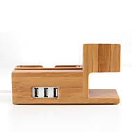 3 in 1 Bambus Ladeholzständer Halter Dockingstation Halter mit USB-Ausgang für iphone iwatch