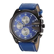 JUBAOLI 男性 軍用腕時計 リストウォッチ クォーツ レザー バンド ブラック 白 ブルー レッド