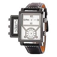 Oulm Herren Armbanduhr LCD Kalender Drei-Zeit-Zonen Quartz Japanischer Quartz Leder Band Schwarz Blau Rot Braun