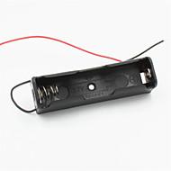 DIY 1 슬롯 18650 배터리 / 2 리드 W 홀더 - 블랙