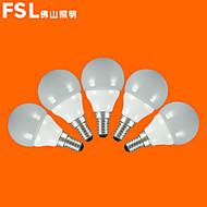 5pcs fsl® E14 3W 3000K-6500K varm / kold lys førte kloden pærer 220v