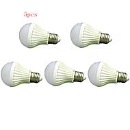 5pcs HRY® 7W E27 600LM 2835SMD Warm/Cool White Sound & Light Control Lamp LED Smart Bulbs(220-240V)