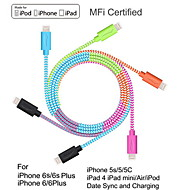 yellowknife MFi Certified Lightning to USB Multicolour Braid Cable for iphone 7 6s Plus SE 5s/ipad Sync and Charging