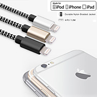 mfi quatro pés certificada (1.2m) relâmpago para usb sincronismo e cabo de carga para Apple iPhone 7 6s 6 mais if 5s 5 / Mini iPad