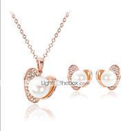 Niedlich / Party - Damen - Halskette / Ohrring (Rose Gold überzogen / Legierung / Zirkonia / Kunst-Perlen)