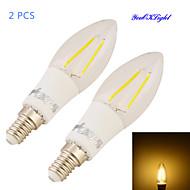 2W E14 LED-stearinlyspærer C35 2 COB 200 lm Varm hvid Dekorativ AC 85-265 V 2 stk.