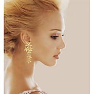 Kolczyki wiszące Kamienie zodiakalne Posrebrzany Pozłacane Porcelanka Leaf Shape Silver Golden Biżuteria Na Ślub Impreza Codzienny Casual