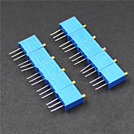3296 potensiometer 3-pinners 10kohm justerbare motstander - blå (10 stk)