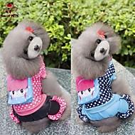 犬用品 コート ジャンプスーツ ブルー ローズピンク 犬用ウェア 冬 春/秋 水玉 カジュアル/普段着