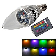 YouOKLight® E14 3W Remote Controlled LED Candle Bulb Colorful Light 240lm - Silver (AC 85~265V)
