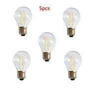 5pcs HRY® A60 2W E27 250LM 360 Degree Warm/Cool White Color Edison Filament Light LED Filament Lamp (AC220V)