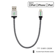 Carve MFI 0.6ft / 20CM Nylon Lightning to USB Data Cable for Apple iPhone 6 /6s/ 5 / 5s / 6 Plus / iPad mini