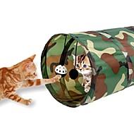 猫用おもちゃ ペット用おもちゃ チューブ/トンネル 折り畳み式 ベル 織物 ブルー 迷彩色 ブルー とレッド ゼブラ柄 混色