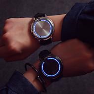 Heren Modieus horloge Unieke creatieve horloge Polshorloge Kwarts LED Aanraakscherm Leer Band Creatief Cool Zwart Zwart Zilver
