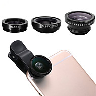 universal clip-on 3 i 1 fiskeøjeoptik + vidvinkel + micro linse kit til iphone6 ​​/ 6 plus / 5 / 5s / sansumg Galaxy S3