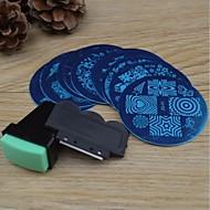 10pcs unha arte carimbar imagem modelo de placas + 2 pcs nail art impressora de estampagem (cor aleatória)