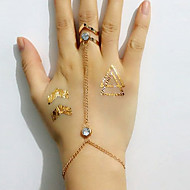 European Style Fashion Simple Geometric Rhinestone Bracelet With Ring
