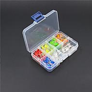 5mm rød / gul / blå / grønn / oransje / lilla / rgb 3-farget LED-dioder kit (130 stykker)