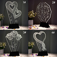3D Flowers Love Starry Sky Atmosphere Battery USB Mood LED Table Lamp Night Light