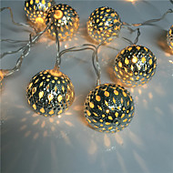 Hollow out 10 lamp, wrought iron ball battery pack light string