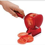 buena calidad herramientas de corte de frutas vegetales de plástico rojo tomate guía titular de la máquina de cortar la patata / titular