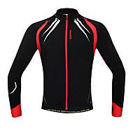 tops / Jaqueta / Jersey (Preto / Vermelho) - de Ciclismo - Homens -Zíper Frontal / A Prova de Vento / Mantenha Quente / Forro de