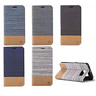 luxe flip canvas lederen tas met portemonnee kaartslot houder voor de Samsung Galaxy S5 mini / s5 / s6 / s6 edge / s6 rand plus