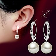 Drop Earrings Pearl Birthstones Fashion Classic Silver Pearl Sterling Silver Ball Silver Jewelry For Wedding Party Daily 2pcs