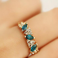 Ring Daily Jewelry Alloy Rhinestone Women Statement Rings 1pc,8 Green