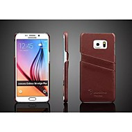 For Samsung Galaxy Case Card Holder Case Back Cover Case Solid Color Genuine Leather Samsung S6 edge plus